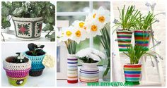 A Collection of Crochet Plant Pot Cozy Cover Free Patterns: Crochet Spring Flower Pot Cover, Summer Plant Pot Cozy, Vase Cover, Jar Cover, Gift Ideas