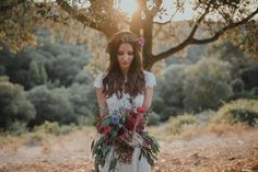 ia and Georg wanted their wedding to be all about them and all of the people they love. With a festival 'Lovefest' theme and a stunning venue in the hills of… Bohemian Wedding Flowers, Bohemian Weddings, Festival Wedding, Boho Festival, Flower Arrangements, Brides, Floral Design, Barcelona, Wedding Day