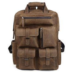 149.00$  Watch here - http://alif2m.shopchina.info/go.php?t=32611311078 - TIDING Cool Cowhide Leather Laptop Backpack Day Pack Activity Travel Weekender Overnight Bag 30813 149.00$ #magazine