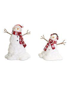 Look what I found on #zulily! Melting Snowmen Figurine Set #zulilyfinds