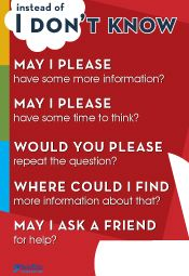 """#seidlitzproducts  Poster: What to say instead of """"I don't know""""."""