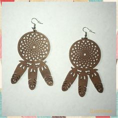 Dream Catcher Wooden Earrings Wooden Earrings, Dangle Earrings, Black Chicks, Elephant Head, Glitter Lips, Dream Catcher, Dangles, Brown, Ebay