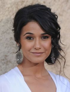 Emmanuelle Chriqui's ultra-rich Darkest Brown hair color gets extra dimension from a chic, messy updo. Find your own best hair color match right at home @ http://www.haircolorforwomen.com/breakthrough-hair-color-system-your-salon-doesnt-want-you-to-know-about-p/
