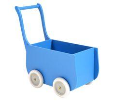 Blue retro wooden doll stroller | Houten poppenwagen blauw | Petite Amélie