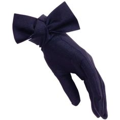 Black Navy Bow Cocktail Gloves ($58) ❤ liked on Polyvore featuring accessories, gloves, cocktail gloves, bow glove, short gloves, evening gloves and navy gloves