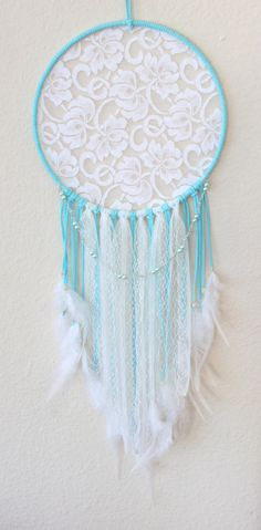 Large Dream Catcher wrapped in Light Blue Faux Suede with White Lace and Blue Glass Pearls Hand Wire Wrapped