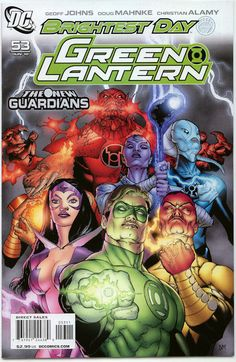 Green Lantern with the other lanterns(red,purple,yellow,etc.)