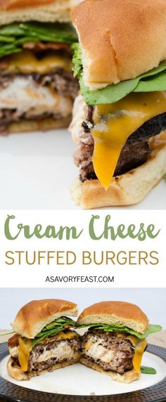 Cream Cheese Stuffed Burgers This is the ULTIMATE burger recipe! A two huge patties stuffed with a mixture of cream cheese, cheddar cheese and bacon. I bet your mouth is watering just thinking about it! Grill out this weekend and make these epic burgers. Cheese Burger, My Burger, Beef Burgers, Cheese Stuffed Burgers, Grilling Recipes, Beef Recipes, Cooking Recipes, Healthy Recipes, Fun Recipes