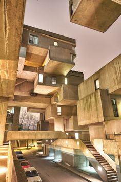 Habitat 67, a model community and housing complex in Montreal, Canada designed by Israeli–Canadian architect Moshe Safdie. located at 2600 Avenue Pierre-Dupuy on the Marc-Drouin Quay next to the Saint Lawrence River.