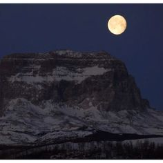 Full moon over Chief Mountain. Glacier Park, Montana  Stunning!!! Thank you God for your awesome handy work!