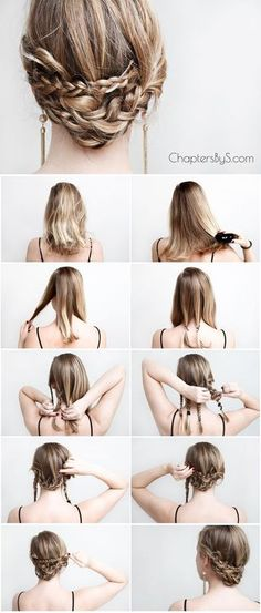 Casual Braided Updo for medium length hair / thin hair / shoulder length hair   Chapters By S.