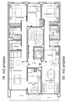 Edificio en Buenos Aires. Residential Building Plan, Building Plans, Architecture Plan, Residential Architecture, Small House Plans, House Floor Plans, Architectural House Plans, Office Plan, Apartment Floor Plans