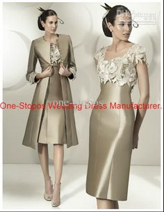 Wholesale Mother of the Bride Dresses - Buy 2014 Hot Cheap Vintage Square Neck Taffeta 3/4 Long Sleeves Lace Handmade Flowers Tea Length Sheath Mother Of the Bride Dresses With Jacket, $128.88 | DHgate