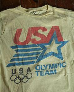 Retro Vintage USA Olympic Team T Shirt Men's Medium 1984 Licensed Tagless | eBay
