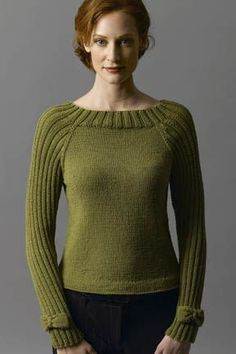 Free knitting pattern for Bow Tie pullover sweater. Note the cute bows on the wrists! This and more free pullover knitting patterns at http://intheloopknitting.com/long-sleeve-pullover-sweater-knitting-patterns/
