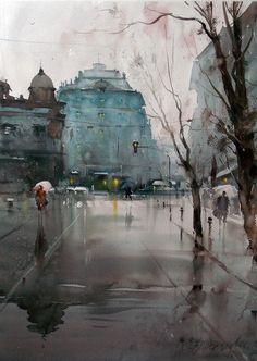 Dusan Djukaric Obilićev venac, watercolor, 56x76 cm