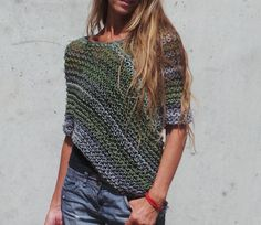 green grey poncho / loose knit  poncho / READY TO SHIP by ileaiye, $60.00