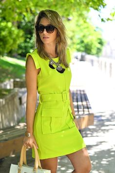 Neon Dresses, Cotton Dresses, Fashion Dresses, Simple Dresses, Casual Dresses, Short Dresses, Jw Moda, Chic Outfits, Girl Outfits