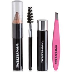 Tweezerman 5-Pc. Mini Brow Rescue Set ($25) ❤ liked on Polyvore featuring beauty products, gift sets & kits, no color, cosmetic purse, toiletry kits, makeup purse, make up purse and make up bag