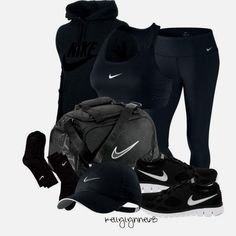 """All Black Nike Work  ""All Black Nike Workout"" ..........new workout clothes always motivate me! Black clothes for my fats funeral!(:"