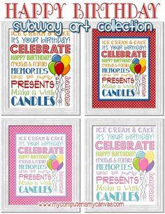 HAPPY BIRTHDAY Subway Art Collection (printable)