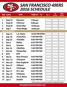 San Francisco 49ers Football Schedule. Print Schedule Here - http://printableteamschedules.com/NFL/sanfrancisco49ersschedule.php