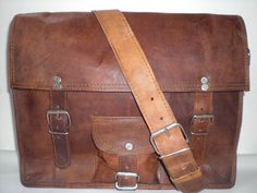 Leather Messenger Bag A4 13 inches/Inch Handmade Soft Leather Mens Unisex Ipad Satchel Shoulder Handbags/Bags Pouch/Case For him or her. $59.00, via Etsy.