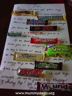 my little sister did this for my dads bd it was such a cute and sweet fun to read card. no pun lol *Candy Bar Poem – Birthday Candy Bar Poem but could easily changed to use for holidays especially Father's Day, Mother's Day or even Christmas. Easy Gifts, Creative Gifts, Homemade Gifts, Cool Gifts, Creative Ideas, Birthday Candy, Birthday Gifts, Birthday Ideas, 50th Birthday