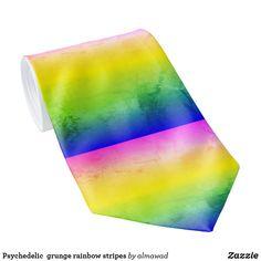 Psychedelic  grunge rainbow stripes neck tie