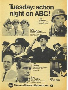1965 TV Guide Ad Combat McHale's Navy F Troop The Fugitive Peyton Place ABC TV
