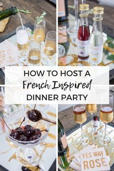 How to host a French inspired dinner party, complete with apertifs, 5 course dinner menu, rustic table setting and easy entertaining tips and hacks Birthday Dinner Menu, Dinner Party Table, Dinner Club, Birthday Dinners, French Dinner Parties, French Themed Parties, French Dinner Menu, Themed Dinner Parties, Party Food Menu