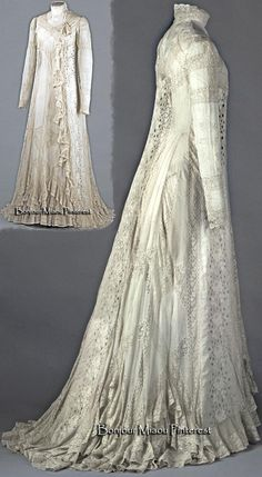 Tea gown belonging to the actress Réjane, circa 1898–1899. White cotton voile trimmed with white cotton mechanical lace and white embroidery in rose motifs. Photo: Eric Emo. Palais Galliera
