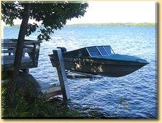 The Boathouse: a new definition to lakefront living! Boat Hoist, Pontoon Boat, Make A Boat, Build Your Own Boat, Lake Dock, Boat Dock, Boat Building Plans, Boat Plans, Floating Boat