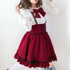 S/M/L Kawaii blouse braces skirt SE9619