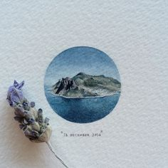 Day 360 : The Sentinel, as seen from Chapman's Peak. 28 x 28 mm. #365postcardsforants #wdc624 #miniature #watercolour #painting #mountains #houtbay #thesentinel #chapmanspeak #capetown