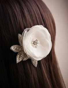 Wedding hair flower -  Wedding accessory -  Bridal hair accessories -  For the bride. $26.00, via Etsy.