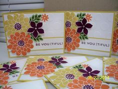 """Flower Patch by D. Daisy - Cards and Paper Crafts at SplitcoaststampersFlower Patch Paper: Hello Honey, Whisper White Ink: Hello Honey, Tangelo Twist, Blackberry Bliss, Pear Pizzazz, Mossy Meadow Accessories: TIEF Large Polka Dot, Framelits Flower Flair, Punch 3/4"""" Circle, Basic Rhinestones, Dimensionals"""