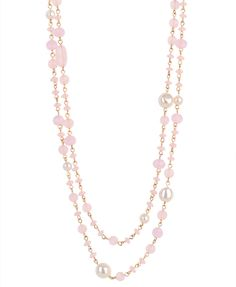 pearlescent bead necklace- pink