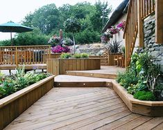 decking with raised flower beds - Google Search
