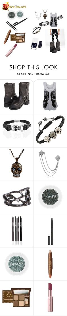 """""""Me as the son of Hades"""" by evy-emanuel ❤ liked on Polyvore featuring Frye, WearAll, Bling Jewelry, Alexander McQueen, Pieces, CARGO, Kevyn Aucoin, tarte, Too Faced Cosmetics and women's clothing"""