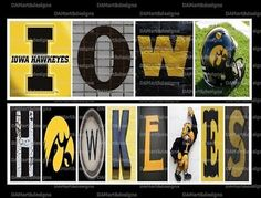 Iowa Hawkeyes Framed Alphabet Photo Art