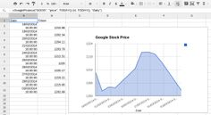 Analysing historical stock prices in Google Sheets: