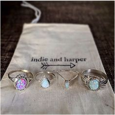 ℒᎧᏤᏋ these gorgeous Opal rings by Indie and Harper! Cute Jewelry, Jewelry Box, Jewelry Accessories, Fashion Accessories, Fashion Jewelry, Jewlery, Vintage Accessories, Red Jewelry, Bohemian Jewelry