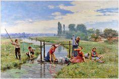 Cesar Pattein (Fransızca Ressam, 1850-1931) 1909 «Çocuklar Peyzaj oynamak»