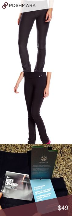 🆕NIKE LEGEND Skinny Poly Pants, size L $70 retail price! AMAZING QUALITY! These Nike Legend Skinny Fit pants give you the Dri-FIT comfort you need for training and style that works for weekend wear as well.   * Low rise Skinny fit through hips and thighs * Skinny leg to knee  * Pull-on styling  * Waistband tilts up in the back for better coverage  * Moisture-wicking Dri-FIT fabric  * Lined gusset  * Slight flare at the hem   * NEW WITH TAGS. Size L (Large)  # active workout pants #leggings…