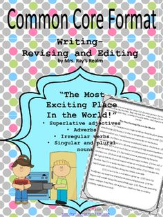 This revising and editing passage includes a passage and 10 questions covering superlative adjectives, singular and plural nouns, irregular verbs, and adverbs. The story about the little girl whose favorite place in the world is her very own kitchen is charming and will be sure to interest your students.The questions are clear and to the point, and provide great test prep!If you would like to purchase the Texas Standards-STAAR version of this product, please click the following link: The…