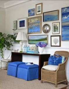 Feel like bringing a bit of the beach into your home this winter? Create your own soothing, sea-inspired space with artwork in varying blue tones and have them framed in an assortment of weathered frames.