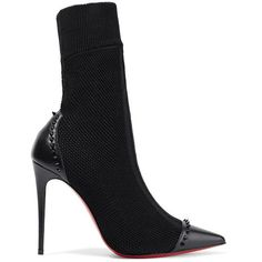 Christian Louboutin Dovi Dova 100 studded leather-trimmed stretch-knit... (69,610 INR) ❤ liked on Polyvore featuring shoes, boots, high heel stilettos, black studded boots, black spiked boots, black pointed toe boots and stiletto high heel boots