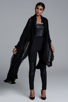 CKONTOVA scarf paired with all looks... Black