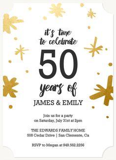 Modern Brushstrokes Foil Stamped Anniversary Invitations